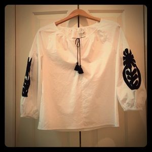 J. Crew Factory Tops - J Crew White Appliqué Blouse